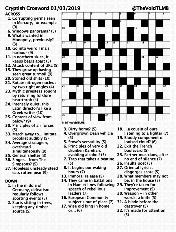Cryptish Crossword March 2019