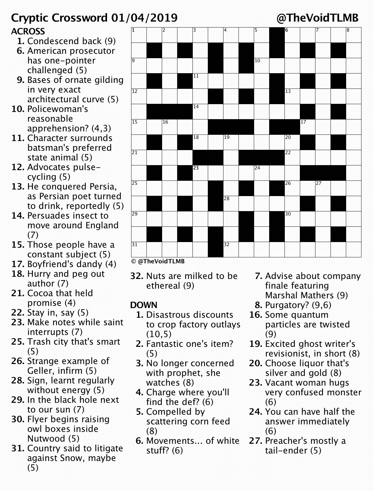 image relating to Printable Cryptic Crosswords identify Cryptic Crossword April 2019 TLMB