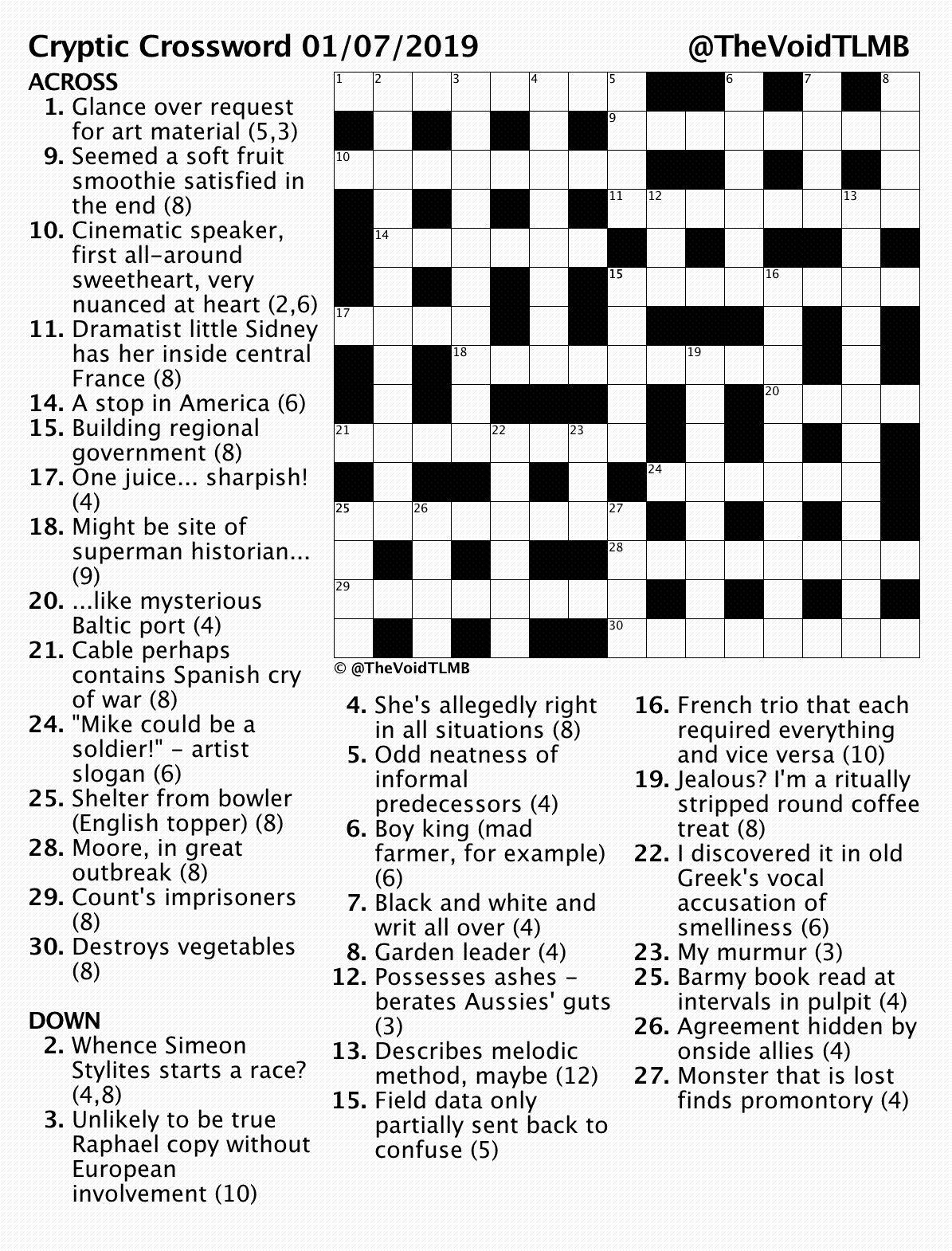 image about Printable Cryptic Crosswords called crosswords TLMB