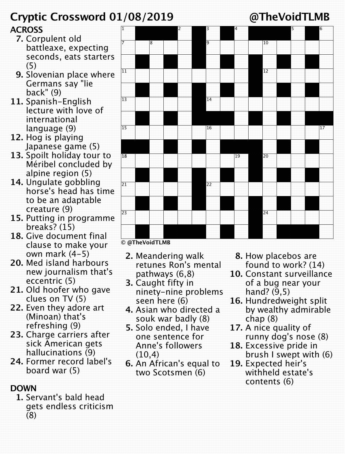 photo about Printable Cryptic Crosswords named TLMB TLMB